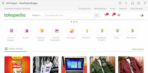 Download Template Blog Mirip Tokopedia untuk Web Jual Beli