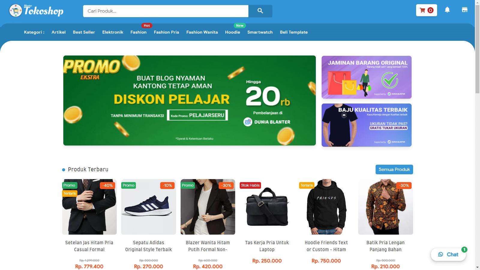 Template Blogger Blanter Tokoshop untuk Jualan Online Premium